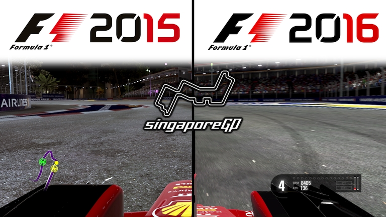 Codemasters F1 2015 vs F1 2016 Graphics Comparison @ Marina Bay Street Circuit