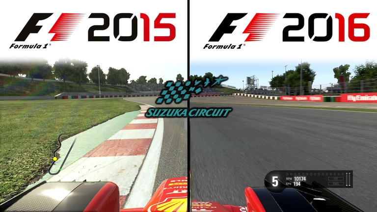 Codemasters F1 2015 vs F1 2016 Graphics Comparison @ Suzuka