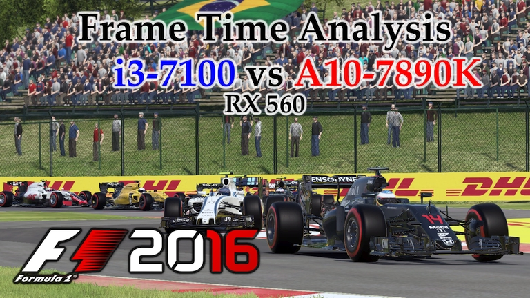 i3-7100 vs A10-7890K Frame Time Analysis w/ RX 560 - F1 2016 [BENCHMARK - HUNGARIAN GP]