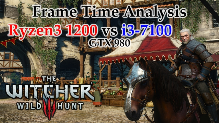 Ryzen 3 1200 vs i3-7100 Frame Time Analysis w/ GTX 980 - The Witcher 3: Wild Hunt [NOVIGRAD]