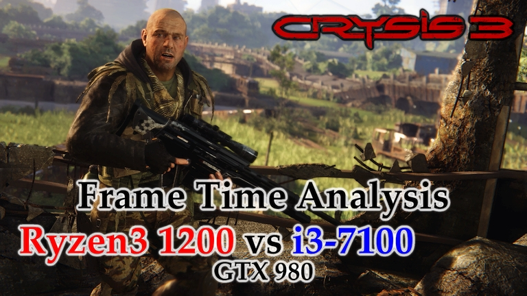 Ryzen 3 1200 vs i3-7100 Frame Time Analysis w/ GTX 980 - Crysis 3 [LIBERTY DOME]