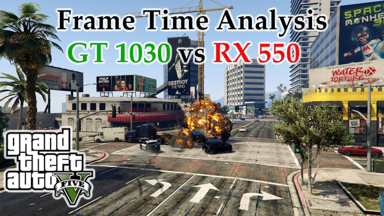 GT 1030 vs RX 550 Frame Time Analysis w/ G4560 - Grand Theft Auto V [BENCHMARK]