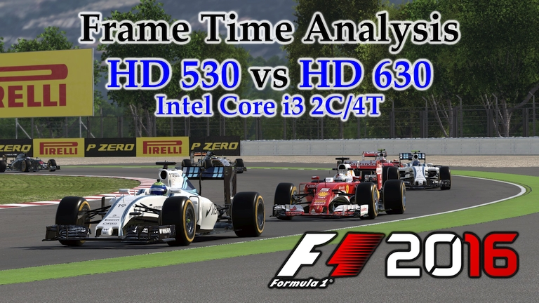 Intel i3 Integrated Graphics - HD 530 vs HD 630 Frame Time Analysis - F1 2016 [BENCHMARK - SPANISH GP]