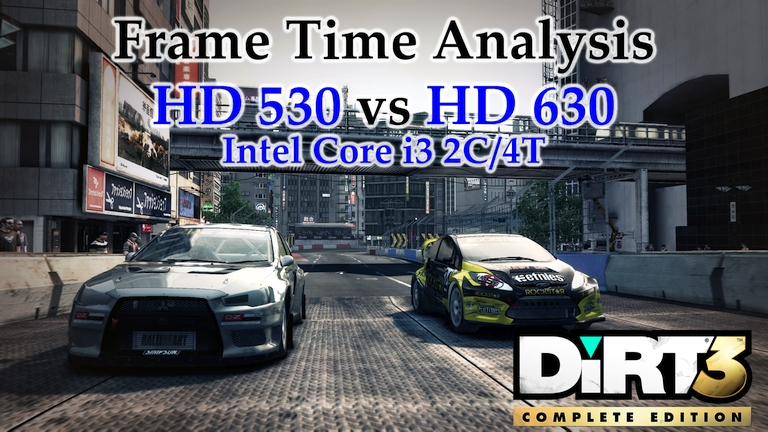 Intel i3 Integrated Graphics - HD 530 vs HD 630 Frame Time Analysis - DiRT 3 [BENCHMARK - JAPAN RX & KENYA TB]