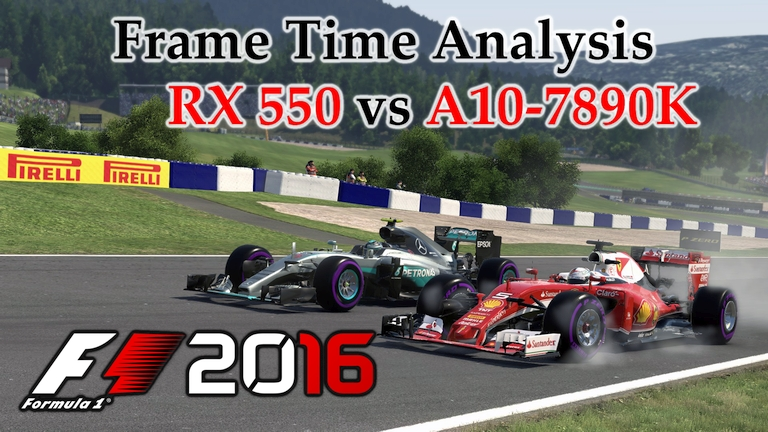 RX 550 vs A10-7890K APU Frame Time Analysis - F1 2016 [BENCHMARK - AUSTRIAN GP]