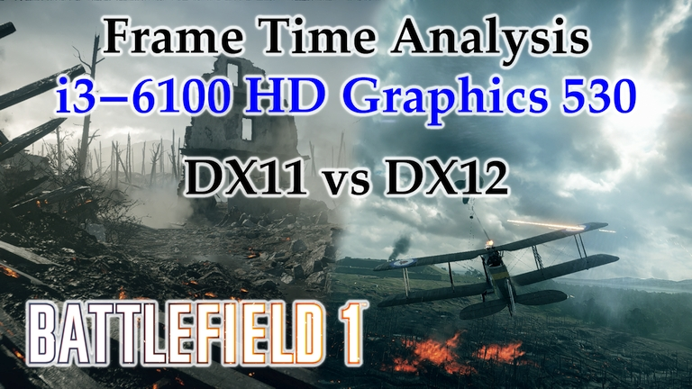 i3-6100 HD Graphics 530 Frame Time Analysis - Battlefield 1 DX11 vs DX12